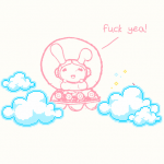 bunny on the clouds